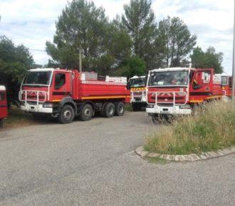 """Exercice """"feu de forêt"""" organisé dans le cadre de la préparation annuelle des Sapeurs-Pompiers et des militaires de l'UIISC7 de Brignoles"""